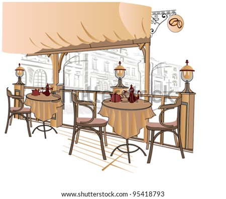 Series of street cafes - stock vector