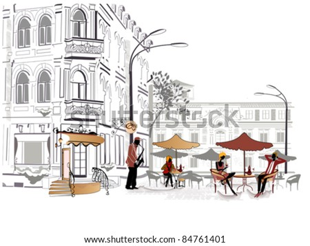 Series of street cafes in the city with musician - stock vector