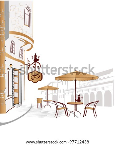 Series of street cafes in the old city