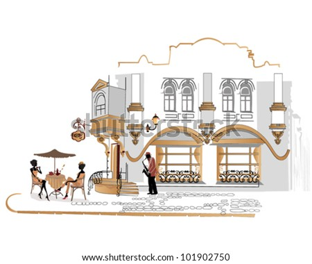 Series of street cafes with people drinking coffee in the old city - stock vector