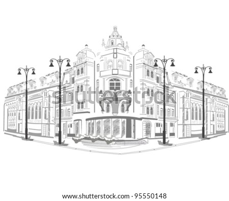 Series of street views in the old city - stock vector