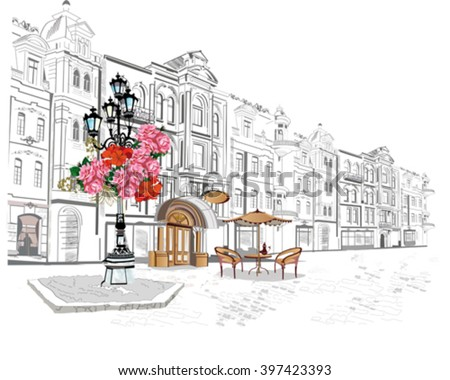 Series of street views in the old city. Hand drawn vector architectural background with historic buildings and cafes.