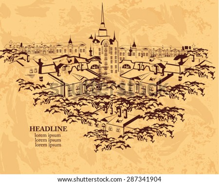 Series of street views in the old city - top view over the roofs of the houses - stock vector