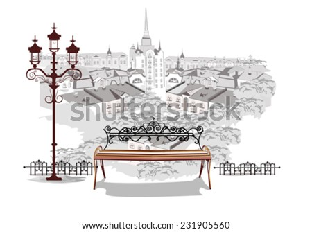 Series of street views in the old city - top view over the roofs of the houses and a romantic bench  - stock vector