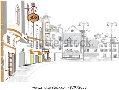 Series of the street sketches in the old city - stock vector