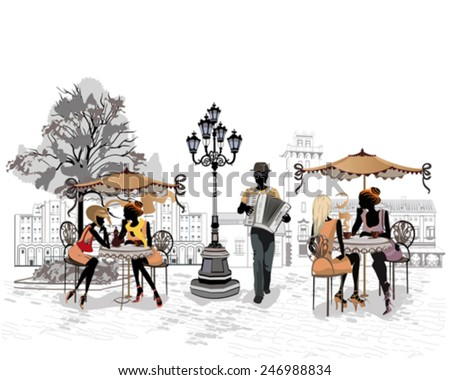 Series of the streets with people in the old city, street musician with an accordion  - stock vector