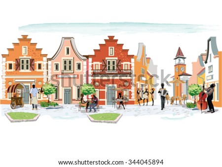 Series of the streets with people in the old city, street musician with an accordion.  - stock vector