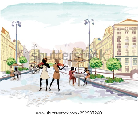 Series of the streets with people in the old city, street musicians with violins, watercolor vector illustration - stock vector