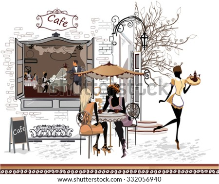 Series of the streets with people in the old city. Waiters serve the tables. Street cafe. - stock vector