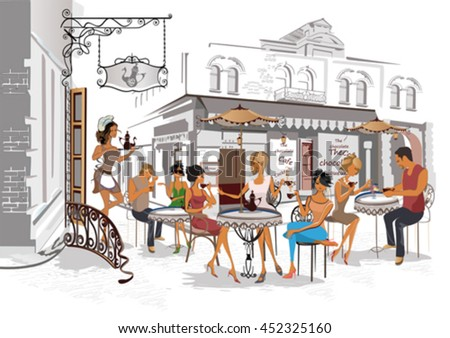 Series of the streets with people in the old city. Waiters serve the tables. Street cafe.