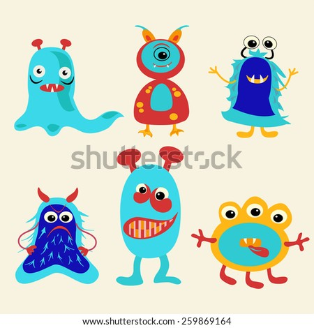 Series of vector Funny And Cute  cartoon monsters Icons Set - Illustration!