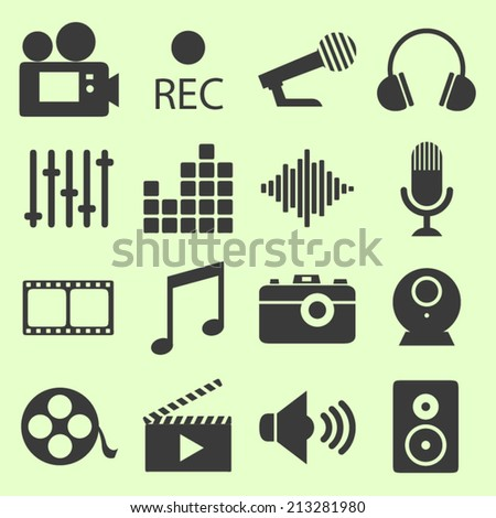 Series of video related icons - stock vector