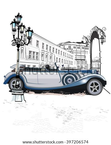 Series of vintage backgrounds decorated with retro cars and old city streets views. Hand drawn Vector Illustration. - stock vector