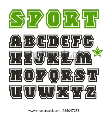 Serif font in sport style with contour. Black font on white background - stock vector