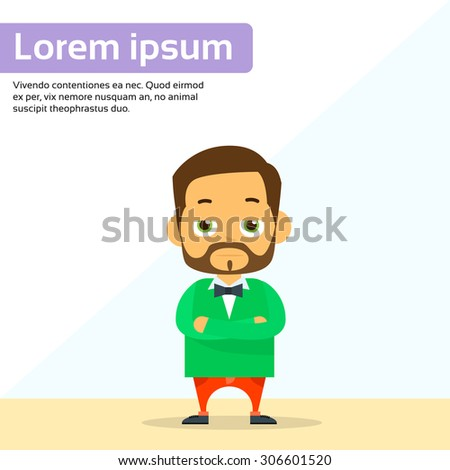 Serious Cartoon Person Character Man Standing Flat Vector Illustration - stock vector