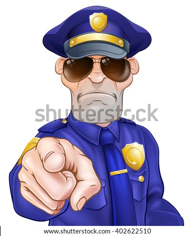 Serious cartoon police officer policeman in sunglasses pointing - stock vector
