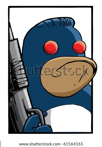 Serious Penguin with a shotgun and red eyes vector image - stock vector