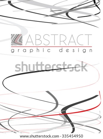 Serpentine. Abstract template of page with black, red and gray thin stripes. Vector graphic design layout - stock vector