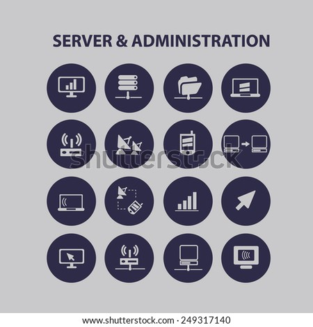server & administration, computer interface icons, signs, illustrations set, vector - stock vector