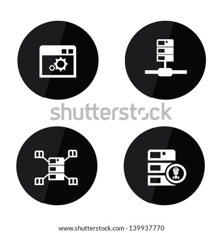 Server and database icons,vector - stock vector