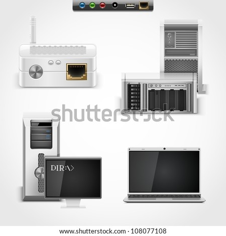 server and networking vector icons - stock vector