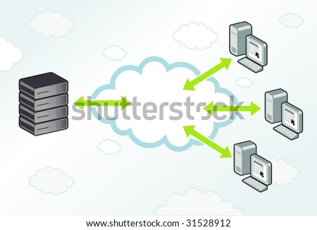 Server and workstations computing to each other in a cloud. - stock vector