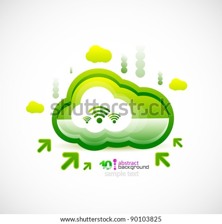 Server cloud. Wireless connection vector background - stock vector