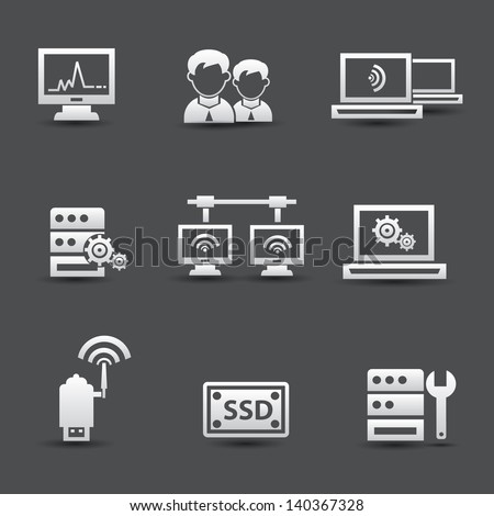 Server computer and connection system icons,vector - stock vector