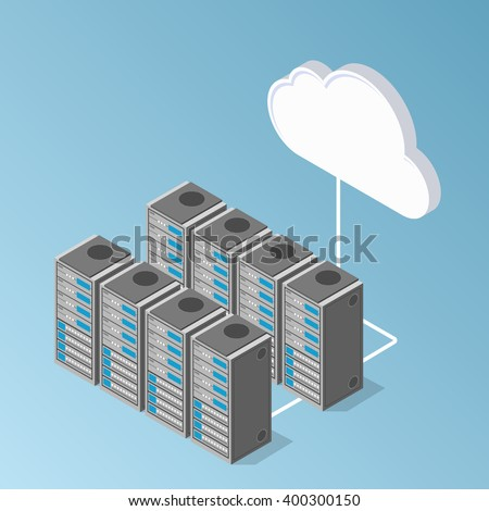 server equipment hardware perspective view. exchange of data with cloud. - stock vector
