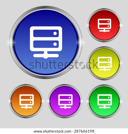 Server icon sign. Round symbol on bright colourful buttons. Vector illustration - stock vector