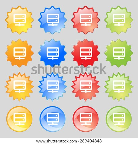 Server icon sign. Set from fourteen multi-colored glass buttons with place for text. Vector illustration - stock vector