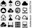 Server, internet, network vector icon set on gray. - stock vector