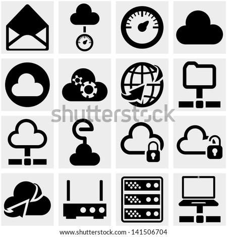 Server, internet, network vector icon set on gray. - stock vector