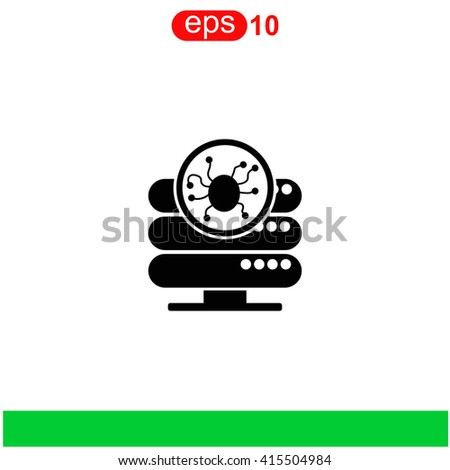 Server is infected by malware with virus icon.  - stock vector