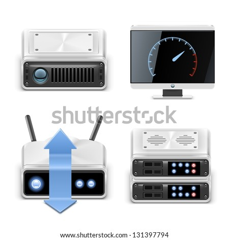 server vector icon set - stock vector