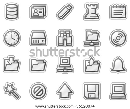 Server web icons, grey sticker series - stock vector