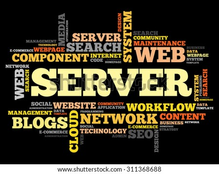 Server word cloud, business concept - stock vector