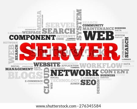 Server word cloud concept - stock vector