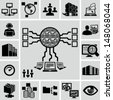Servers, network, database, data analytics icons set - stock