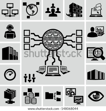 Servers, network, database, data analytics icons set - stock vector