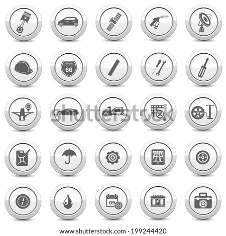 Service and car icons on white background - stock vector