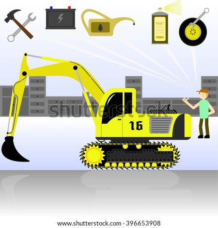 Service and diagnostics excavator.  Detailed vector.
