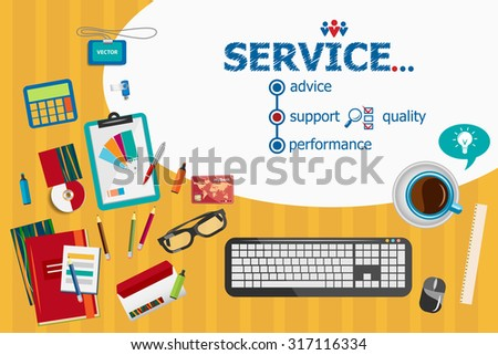 Service and flat design illustration concepts for business analysis, planning, consulting, team work, project management. Service concepts for web banner and printed materials. - stock vector