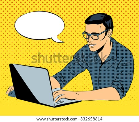 Service business concept. Businessman with computer. Says one moment please. Pop art retro style - stock vector