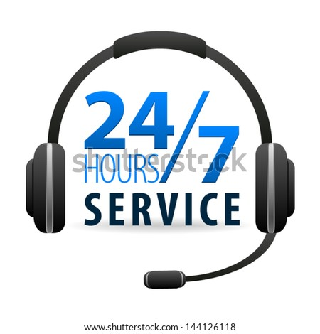 Service Call center for customers available online around the clock or 24 hours a day and 7 days a week icon isolated on white background. Vector - stock vector