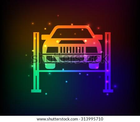 Service car design,rainbow concept,clean vector - stock vector