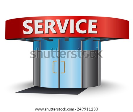 Service center with the main entrance - stock vector