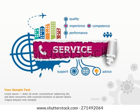 Service concept and breakthrough paper hole with ragged edges.  - stock vector