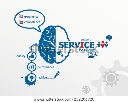 Service concept. Hand writing Service with blue marker - stock vector