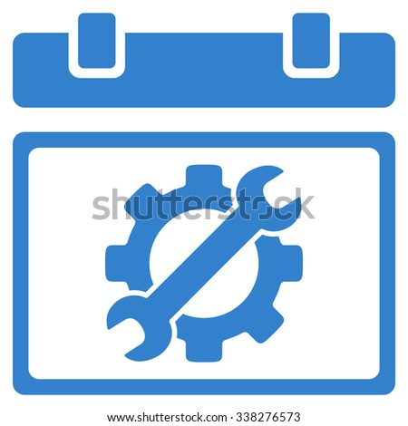 Service Day vector icon. Style is flat symbol, cobalt color, rounded angles, white background.